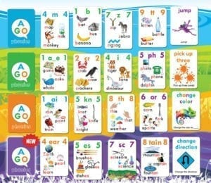 AGO Phonics card game level example cards