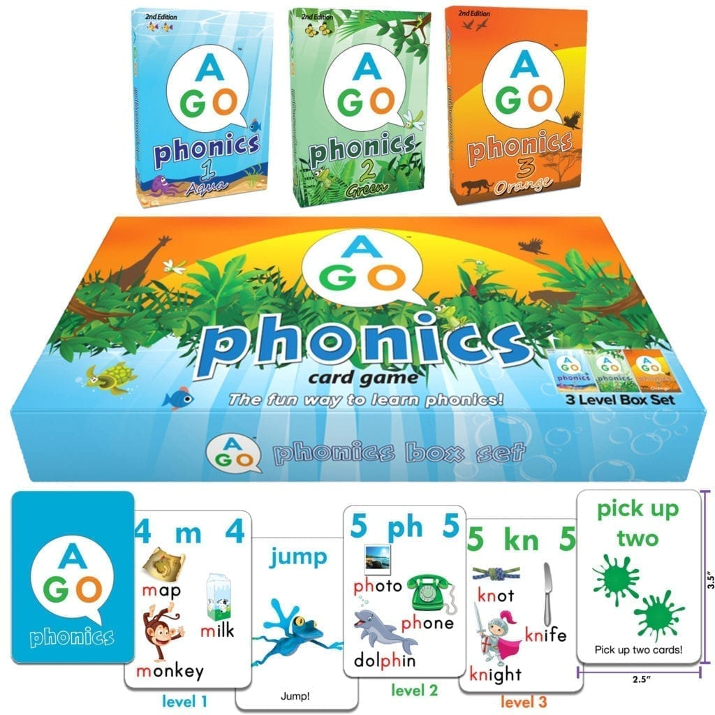 The AGO Phonics box set contains levels 1-3 in a sturdy magnetic box!